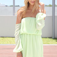 SABO SKIRT Lime Off Shoulder Dress - Lime - 42.0000