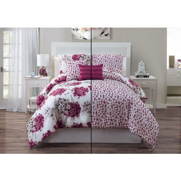 5PC Luxury Carolina Rose/ Ivory Reversible Comforter Set in Queen Size
