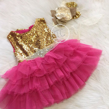 Baby Girl Hot Pink & Gold Birthday Dress, 1St birthday outfit, gold sequin dress, pink tulle dress, Flower Girl Dress, Hot Pink and Gold Dre