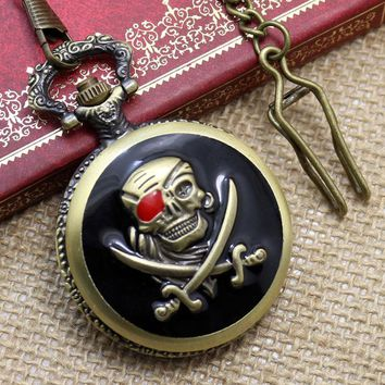 Retro Pocket Watches Vintage Pirates Skull in One Piece Steampunk Pocket-Watch Pendant Chain Watches Free Shipping Best Gifts