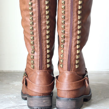 tan brown tall studded riding boots camel from shophearts | LOW