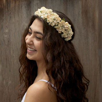Vintage Ivory Bridal Flower Crown. Ivory Bridal Headpiece, Wedding Crown, Floral Crown, Bridal Hair Wreath, Floral Circlet