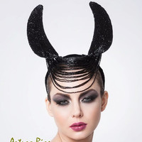 Black Beaded Horns, Couture Horns Headpiece, Fashion Headpiece-Halloween Hat
