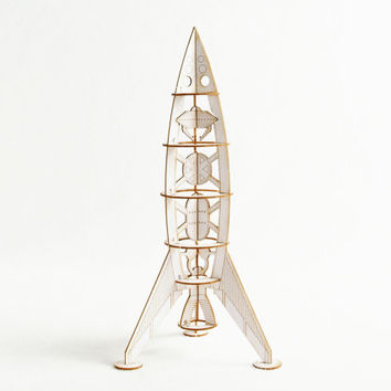Laser Cut Rocket Ship Model Kit , Miniature Space Ships