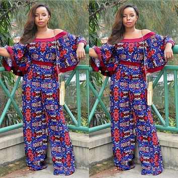 Blue and Red African Print Jumpsuit