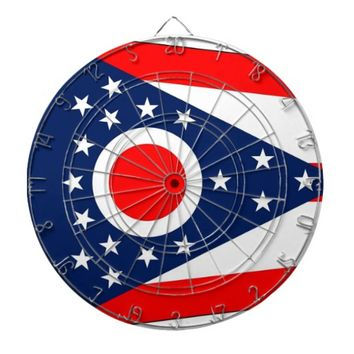 Dartboard with Flag of Ohio, USA