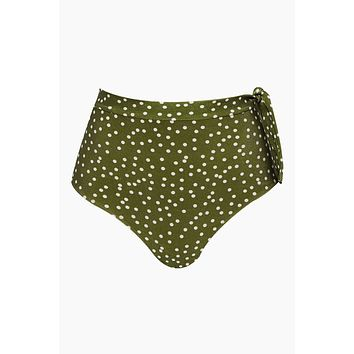 Hot High Waist Side Knot Bikini Bottom - Mille Punti Army Green Polka Dot Print