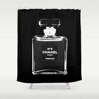 Shower Curtain - Chanel Shower Curtain - Chanel Decor - Black and White Shower Curtain - Fashion Decor - Best Friend Gifts - Gifts for Her