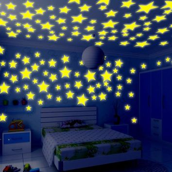 100 Pieces Wall Stickers Illuminate Bedroom Decor Bright Stars of Fluorescent Color Tattoos Wall Stickers