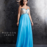 Madison James 15-209W Turquoise Plus Size Strapless Chiffon Beaded Gown