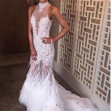 Sexy White Feather Mermaid Evening Dresses 2017 Long Evening Party Prom Dress With Appliques Lace Formal Evening Gowns