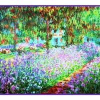 The Artist's Garden in Giverny inspired by Claude Monet's impressionist painting Counted Cross Stitch or Counted Needlepoint Pattern