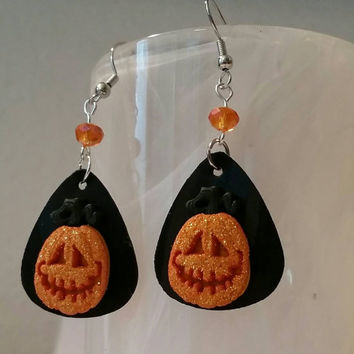 Guitar Pick Jewelry by Betsy's Jewelry - Earrings - Pumpkins - Halloween - Spooky - Upcycled Jewelry