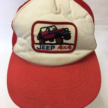 Vintage Jeep Hat Trucker Patch SnapBack Mesh Logo Red Distressed Hipster Cap