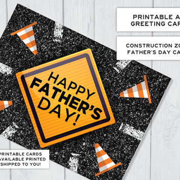 Construction Zone Road Sign Father's Day Printable Card | Card for Dad | Card for Dudes