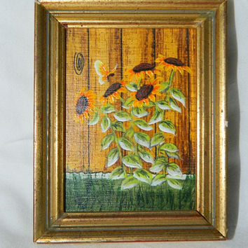 Vintage Miniature Oil Painting , Sun Flowers, Garden, Fence, Butterfly, Flowers, Wild Flowers, Gold Frame