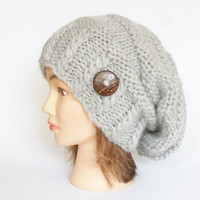 Light gray wool slouch hat women - beanies hat - Slouch Beanie - irish hats - chunky hat - Chunky Knit Winter Fall Accessories , Slouchy hat