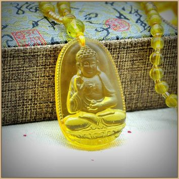 Yumten Citrine Pendant Necklace Jade Buddha Pendants Fine Jewelry Women Men Yellow Crystal High Quality Natural Stone Carved