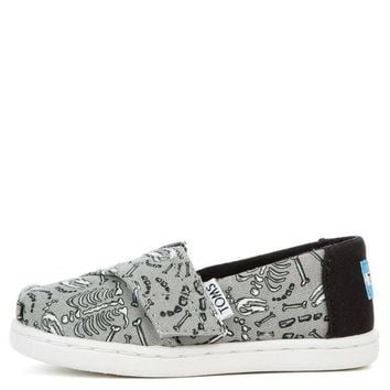 ESBI7E Tiny Toms Classic Dinosaur Bones Glow in the Dark Drizzle Grey Flats