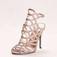 Glitter High Heel Cage Sandal | David's Bridal
