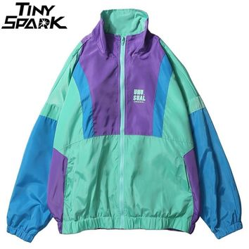 Trendy Winter Jacket Autumn 2018 Hip Hop Windbreaker  Oversized Mens Harajuku Color Block  Coat Retro Vintage Zip Track  Streetwear AT_92_12