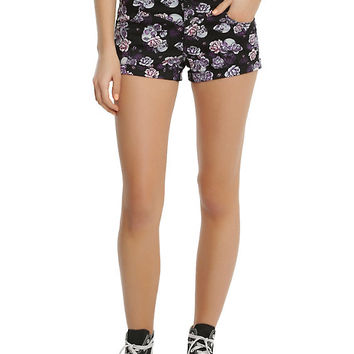 Blackheart Floral V-Stitch High-Waisted Shorts