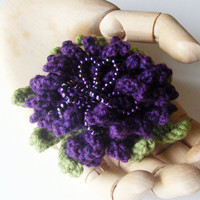 Corsage Brooch Purple Aster Flower Hand Knitted