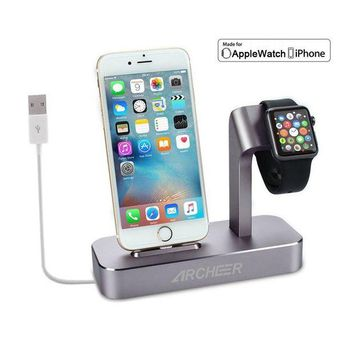 VONL8T (Lightning cable Included) Archeer 2 in 1 Apple Watch Stand and iPhone Charging Dock Station Apple Charging Station for iPhone 7/6s/6s plus/6/6 plus/5s/5 and Apple Watch/Sport/Edition 38mm/42mm