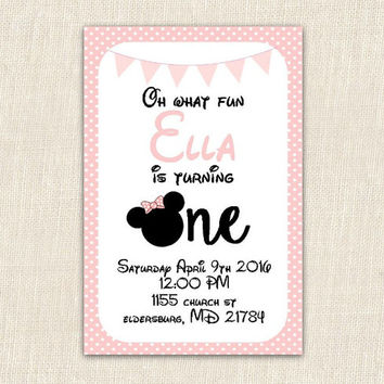 Minnie Mouse Birthday Invitation, 4x6 printable birthday invitation