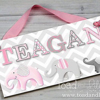 Kids Door Sign Pink Grey Elephant Chevron Nursery Personalized Name Sign DS0361