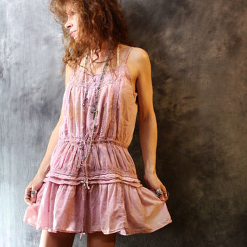 Vintage Bohemian Gypsy Style Hand Dyed Romantic Cotton Dress Crochet Trim Ruffle Hem Upcycled Dusty Violet Rose Shades