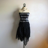 Vintage 1980s Floral Lace SKirt Black High Waist Drop Ruffle Kerchief 80s Cocktail Skirt 6US