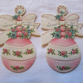 Vintage New Baby Greeting Card Infant Girl Pink