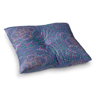 "Miranda Mol ""Kaleidoscopic Blue"" Blue Geometric Square Floor Pillow"