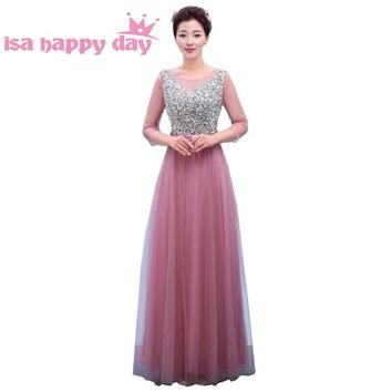long blush burgundy sleeve floor length amazing bridesmaid formal tulle dress women brides maids dresses 2018 from china H3762