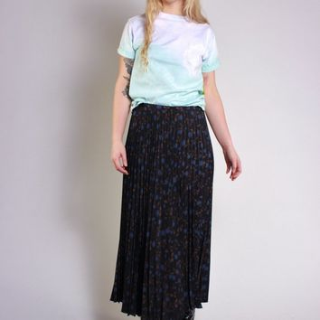 Navy Floral Accordion Pleat Skirt / L