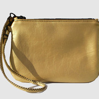 Wristlet in Gold Leather - Free Shipping in the US