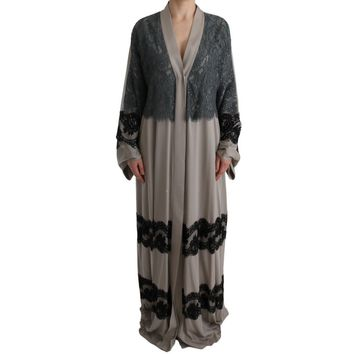Dolce & Gabbana Gray Floral Applique Lace Kaftan Dress