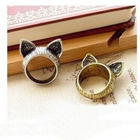 Silver Cat Ears Retro Ring Size 7.5