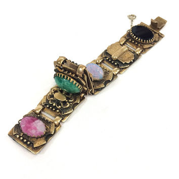 Chunky Heraldic Bracelet, Oval Glass Cabs, Black Opal Green Pink, Molded Glass Flower, Stamped Gilded Brass, 1940s Vintage Fashion Jewelry