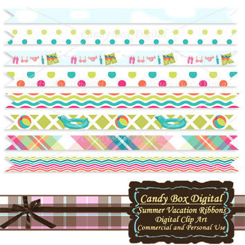 Summer Digital Ribbon, summer border, summer clip art, summer ribbon, beach ribbon, beach border, vacation ribbon - Commercial Use OK