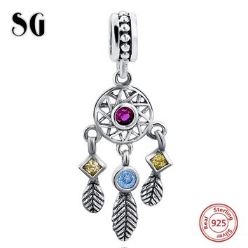 Sterling silver Charm Beads Fit Authentic Pandora Charms Bracelet Silver 925 Original Women Jewelry Berloque diy Feather Pendant
