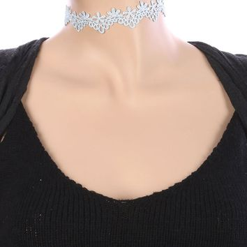 Blue Crochet Flower Lace Fabric Choker Necklace