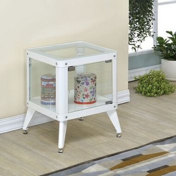 Kidder collection white small cube glass and metal side table display cabinet