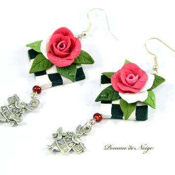 Alice in Wonderland earrings Polymer clay jewelry Great gift Handmade bijouterie Rose earrings