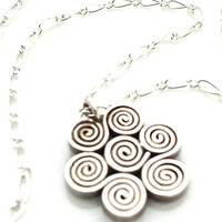 Swirl Necklace, Silver Charm, Wave Necklace, Simple Gifts for Sister Jewelry, Spiral Necklace