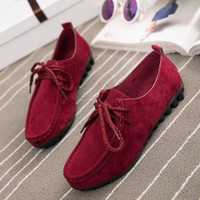 Fashion Simple Solid Color Moccasin-gommino Flats Shoes
