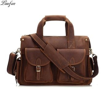 Vintage Men's Briefcase Genuine Cowhide Leather PC Laptop Bag Crazy Horse Leather Business Messenger Bag Work Tote for man