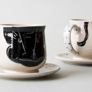 Handmade Ceramic Coffee Cup / Limited Edition / Unique Gifts & Creative Gift Ideas / Bulls Design / Gift for Husband