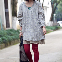 lovely print small floral pullover long sleeves dress
